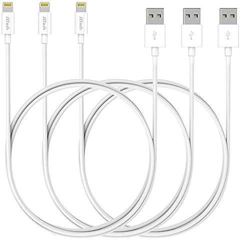 Lightning Cable, JETech 3-Pack Lightning Cable iPhone 7 SE Cable de Datos, Cable de Conexión, Cable de Cargador y Sincronización con USB Compatible para iPhone 7 / 7 Plus / 6 / SE, iPad 4, iPad Air, iPad mini (Blanco) -