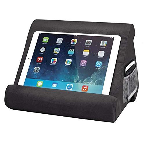 WYFC Flippy Multi-Angle Soft Pillow Lap Stand Mobile Halterung für iPads, Tablets, E-Reader, Smartphones, Bücher und Zeitschriften,Black
