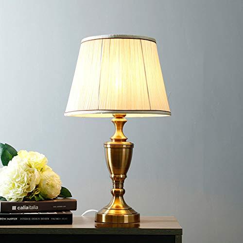 YZPTD Lámpara de mesa americana dormitorio de cabecera lámpara de mesa sala de estar cálida lámpara de cabecera hogar romántico romántica lámpara de mesa regulable (Color : D)