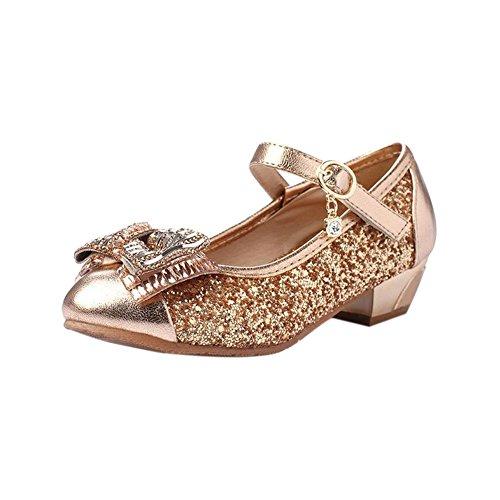 Meijunter Enfants Kids Filles Paillettes Bowknot Pointu Shallow Mouth Princesse Chaussures gold