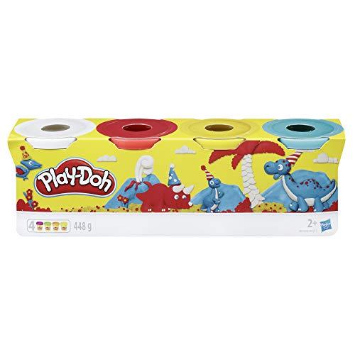 Hasbro Play-Doh B6508EL2 - 4er Pack Grundfarben Knete, für fantasievolles und kreatives Spielen, blau, gelb, rot, weiß