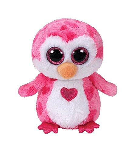 TY 37163 Juliet, Pinguin pink m. Herz 24cm, mit Glitzeraugen, Beanie Boo\'s, Valentin limitiert