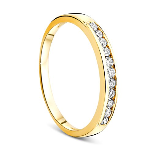 Orovi Damen-Ring Memoire HochzeitsringGelbGold 14 Karat (585) Brillianten 0.20 carat Verlobungsring Diamantring