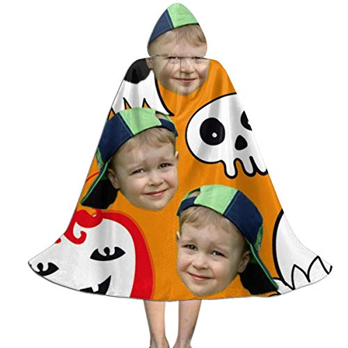 DIYBESTGIFT Kundengebundener und Spaß-personalisierter Foto-Mantel für Halloween, für Kinder( orange M ) (Hausgemachte M&m Kostüm)