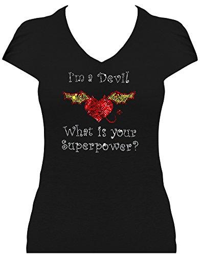 elegantes Damen Shirt Karneval Teufel Kostüm I'm a Devil What is your Superpower? Fasching, T-Shirt, Grösse S, (Teufel Eleganter Kostüme)