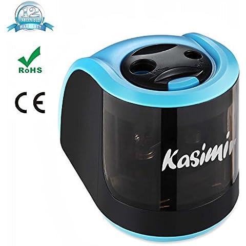 Temperamatite Elettrico Kasimir A Due Fori (6-8mm 9-12mm) Efficienza Automatico Batteria Operato Mains Art Matite Colorate Temperino Sicurezza Bambini Ideale per Scuola in Art Craft Ufficio Blu