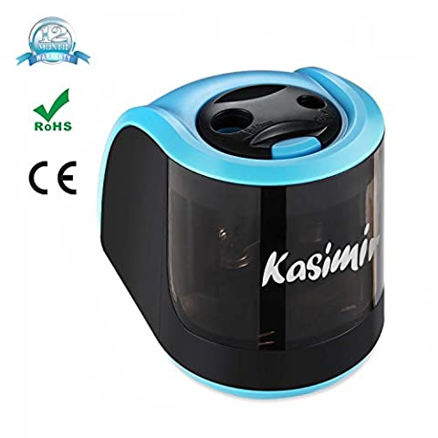 Electric Pencil Sharpener Kasimir with 2 Different Holes Mechanical Battery Operated Automatic Sharpener Perfect for Coloured Pencils Kids Adults Artists Teachers Home Classroom Office School (Blue)