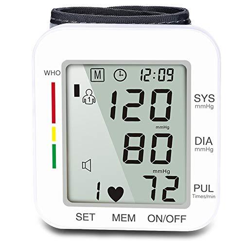 WLIXZ Tipo de muñeca automático, Monitor electrónico de presión Arterial, Instrumento de medición de presión Arterial,White