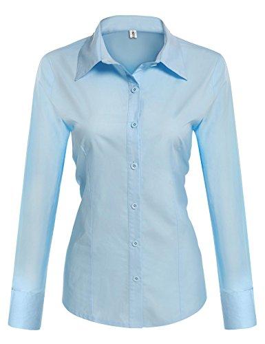 Beautyuu camicia donna manica lunga camicie basic camicetta casual shirt camici top camicetta camicia donna camicetta in cotone formale elegante blu chiaro s