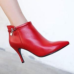 Top Shishang Spitze Stiletto High Heel Leder und nackten Stiefel Damen Martin Stiefel Chelsea Stiefel