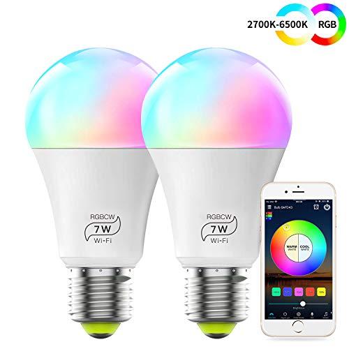 WLAN Smart LED 7W Lampe WIFI Beleuchtung, Dimmbar Kompatibel mit Alexa, IFTTT, Google Home und Siri, Sunset&Sonnenaufgang, Wecker 16 Mio Farben Leuchtmittel E27 Bulbs(2 Pack)