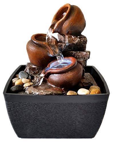 Zen-/Feng-Shui-Brunnen mit Gefäßen, aus Kunststein