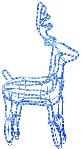 Best Season 3D-LED-Rope-Light-Silhouette Rentier, stehend 432 blaue LED, circa 105 x 60 cm, outdoor 802-28 -