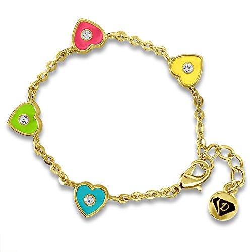 Braccialetto con amuleti, cuore, piccoli e Little Girls, da bambina, placcati oro 18 k, dipinta a mano, gioielleria smaltata, per bambini e Metallo, colore: Yellow-Medium, cod. DL-648-B-Yellow_Medium