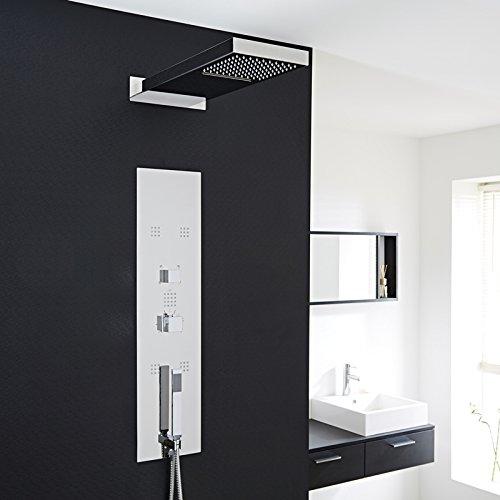 Hudson Reed Duschpaneel - Thermostatische Duschsäule aus verchromtem Edelstahl zur Unterputzmontage - Inkl. 5 Massagedüsen, Wasserfall, Regendusche & Handbrause - Perfekt für moderne Bäder & Duschen