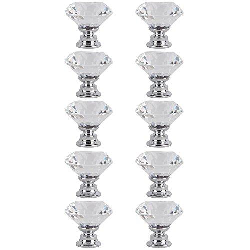 Tailcas® 10 piezas 30mm Diamante Crystal Glass Claro de Cristal Cristal Vidrio Transparente Tiradores Manilla Pomos para Gabinete, Armario, Aparador, Puertas,