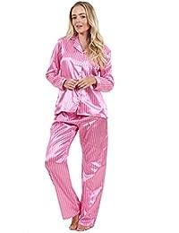 Pijama de raso con llamativo estampado de manga larga para señora Prenda para dormir Pijama de