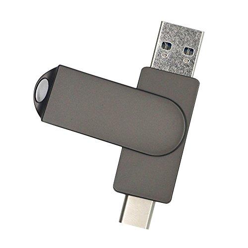 Zolimx 8G / 16G / 32G / 64G USB 2.0 Tipo-C OTG Flash Drive Datos Smartphone Pen Drive Memory Stick U Disco de Almacenamiento Externo (16G, Negro)