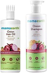 Mamaearth Onion Duo For Hair Fall Control: Onion Hair Oil 250 ml + Onion Shampoo 400 ml