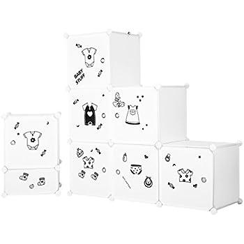 LANGRIA Set Armoire Penderie Modulable 6 Cubes et Table de Chevet ...