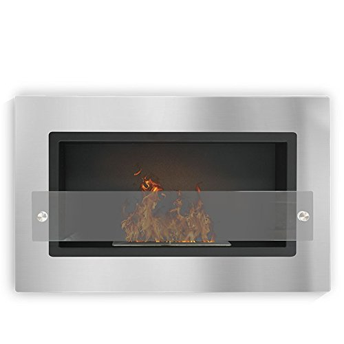 Verona–Brushed Stainless Steel, Wall Mounted Bio Ethanol Fireplace (Pan,)