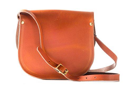 Vera pelle Saddle Croce borsa corpo con fibbia di chiusura e tracolla regolabile. Disponibile in vari colori. Annata arancione
