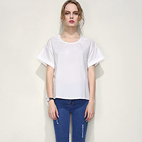 YLSZ-new women's clothing, summer women's clothing, européens et américains de blouses, solide blanc à manches courtes, personnalisé par,white,xl