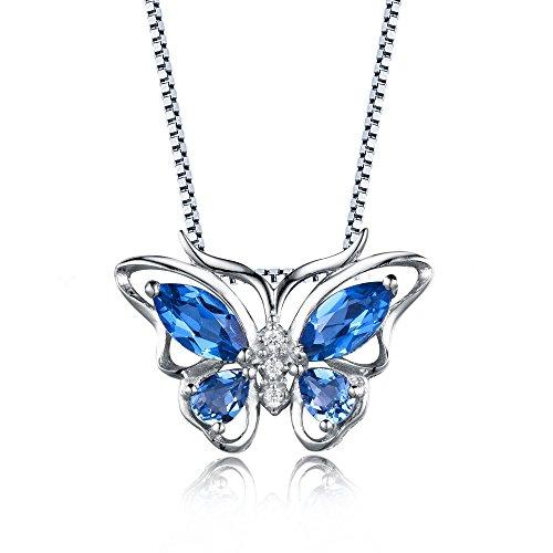 Aurora Tears Damen Kette mit Anhänger Schmetterling Stein Design Halskette 925 Sterling Silber Blau