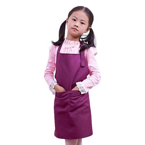 LissomPlume Kind Malschürze Kunstkittel Kinderschürze Kochschürze Arbeitsschürze Painting Supplies - purple