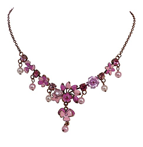 Trachtenschmuck Blüten Collier - Süße Dirndl Kette - Kristall - Emaille Bemalung (Rosa / Pink)
