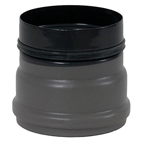Ofenanschlussstück für Pelletofen, ø 80 mm, mit 2 Sicken, Steckrichtung zum Schornstein grau (emailliert)