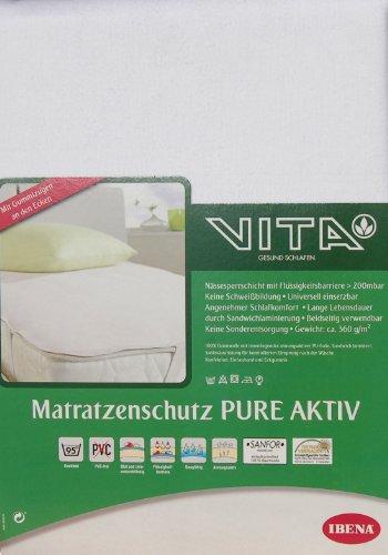 Ibena 5516 Molton Matratzenschutz Pure Aktiv ca. 100x200 cm (Wasserdichte Betteinlage) hygienisch, angenehm & kochfest aus 100% flauschige Baumwolle, Farbe Weiß
