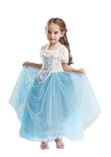 ELSA & ANNA® Mädchen Prinzessin Kleid Verrücktes Kleid Partei Kostüm Outfit DE-FBA-CNDR3 (4-5 Jahre - Size Code 20, DE-CNDR3)