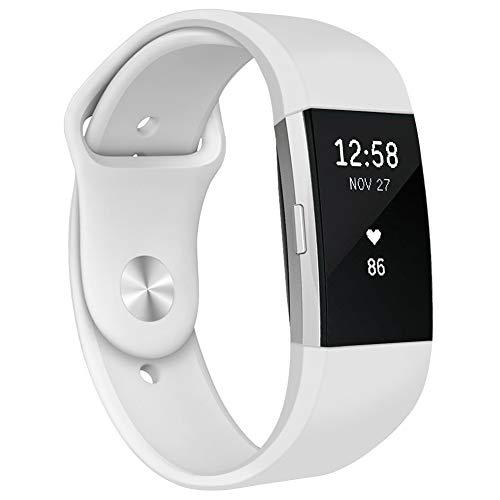 Kmasic Armband kompatibel f¨¹r Fitbit Charge 2, Weiches Silikon Sport armb?nder Zubeh?r Armband f¨¹r Fitbit Charge 2, Frau M?nner, Klein, Weiß
