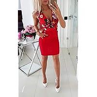 Meisjesjurken Damesjurk Sexy v-hals Mouwloos Bloemenprint Mini-jurk Metallic knoopzakje Office Dames Zomer Slank Mini-jurkje-Red_L