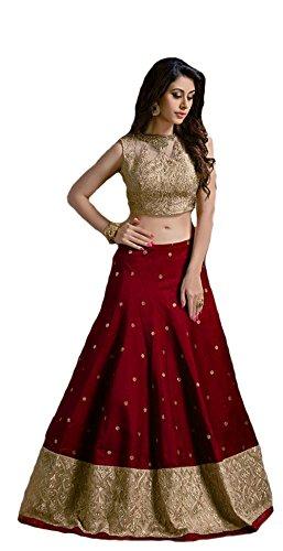 Vaankosh Fashion Women\'s Cotton Silk Lehenga Choli (v-m booti_maroon)