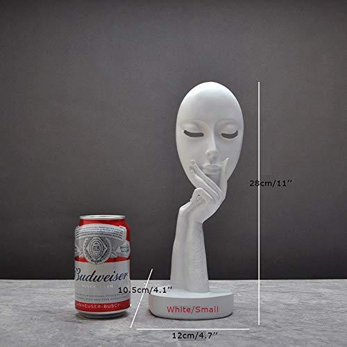 CCWDRZ Statue-Schwarz Weiß Gesicht Figuren Harz Masken Ornamente Handgemachte Kreative Dekoration Porträt Maske Handwerk Denker Statuen, 4 -