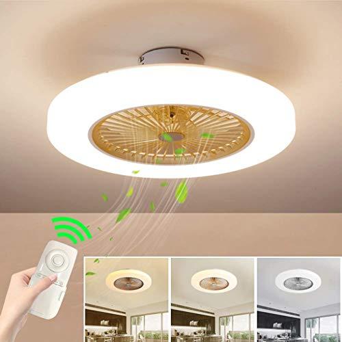 SLZ Deckenventilator mit Beleuchtung, Deckenventilator LED-Licht, einstellbare Windgeschwindigkeit, dimmbare Fernbedienung, 36W Moderne LED-Deckenleuchte, Restaurant Schlafzimmerfarbe optional,Gold -