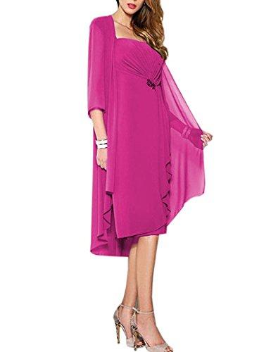 HUINI Brautmutter Kleider mit Jacke Wadenlang Chiffon Perlen Hochzeitskleid Abendkleid Ballkleid Festkleider 44