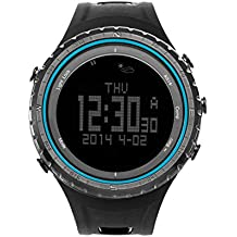 SUNROAD FR801B Multifunction Sports Watch -Pedometer Stopwatch Altimeter Barometer Thermometer CompassTimer LCD Display EL Backlight Outdoor Watch (Blue)