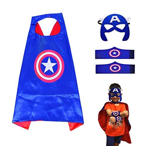 Superhelden Kostüme für Kinder LMYTech Superhelden Umhang Maske/Superhelden Masken/Filz Masken/Superheld Cosplay Party Augenmasken/Perfekt für Kinder im Alter von 3 +,Kapitän Amerika