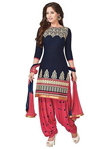 Sky Global Women's Blue Cotton Unstitched Salwar Suit Dress Material (Dress_223_FreeSize_Blue)
