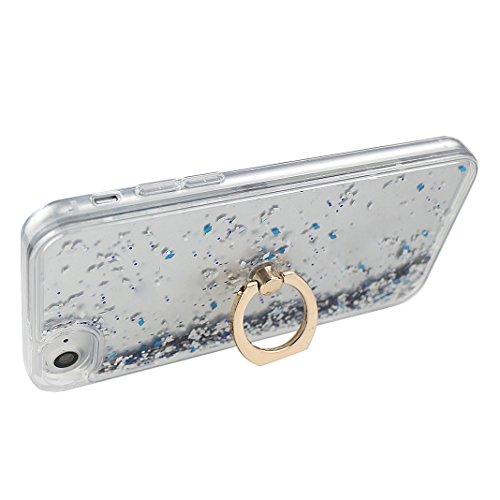 iPhone 7 Hülle mit Ring Halterung Schale 4.7 Zoll, iPhone 7 Hülle Ring, iPhone 7 Flüssig Hülle mit Rotierendem Ring Fingerhalterung Ständer, Moon mood® Case für Apple iPhone 7 Durchsichtige Handyhülle Weiß