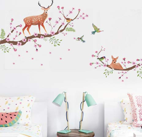 Hot Sale Happy Halloween Wall Sticker Vinyl Decal Sika Deer Flowers Birds Removable Home Decor Stickers Art Mural