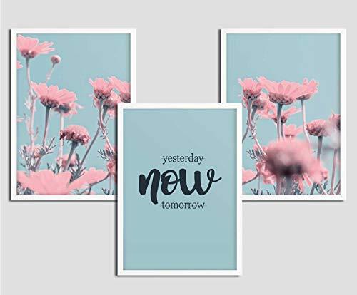 Kunstdruck Wohnzimmer mit Rahmen | 3er Set Blumen Bilder modern | Deko | Rosa Türkis | Poster Spruch
