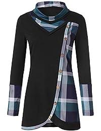 Sale Women Blouse TUDUZ Ladies Long Sleeve Plaid Patchwork Sweatshirt Turtleneck Tartan Tunic Pullover Tops