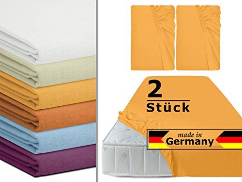 Doppelpack - Biberspannbetttuch in 6 Farben + made in Germany + ca. 90-100 x 190-200 cm + Steghöhe ca. 20 cm + wohlig warme Qualität aus 100% Baumwolle, sonne