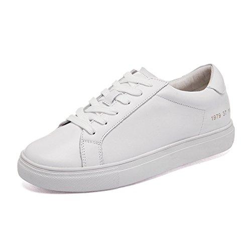 WZG cuir de printemps blanc chaussures caoutchouc bouche peu profonde plat occasionnels chaussures de sport féminins White