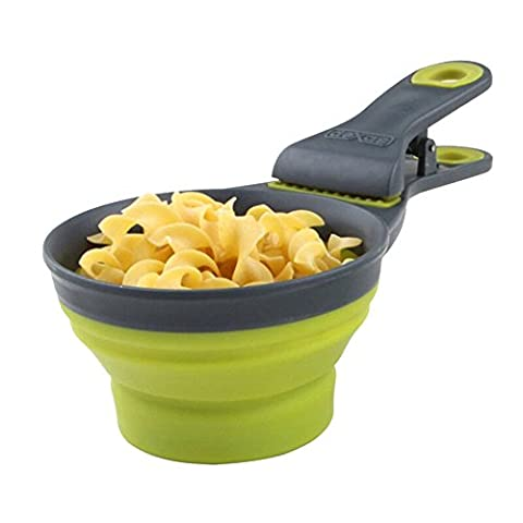 Multifunctional Folding Pet Bowl SET, Food Measuring Scooper/Cup and Bag Clip Measurable Liquid and Solid, Sealing Clamp-1/2 CUP,1 CUP,2 CUP