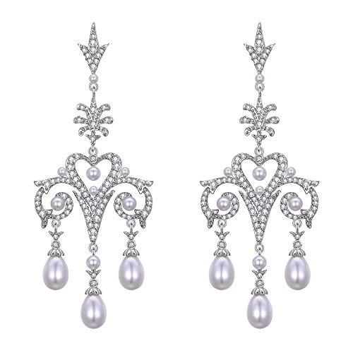 EVER FAITH Damen Ohrringe KlarZirkon simulierte Perle 1920er Jahre Art Deco Liebe Herz Kronleuchter Hochzeit Prom Ohrhänger